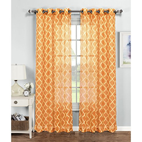 Window Elements Quatrefoil Printed Sheer Extra Wide 54 x 84 in. Grommet Curtain Panel, Orange