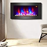 NRG Large Curved Wall Mounted Electric Fire Place Heater Fire Flame Effect Fireplace 2000W MAX