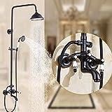 BOOSSONGKANG Ducha Set de ducha retro negro con brazo de cerámica Juego de ducha de elevación Sistema de ducha y cuerpo de ducha de lat