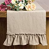 Letjolt Cotton Fabric Table Runner Ruffle Rustic Table Decor Spring Wedding Baby Shower Home Kitchen Birthday Party, Natural 12x72 Inches