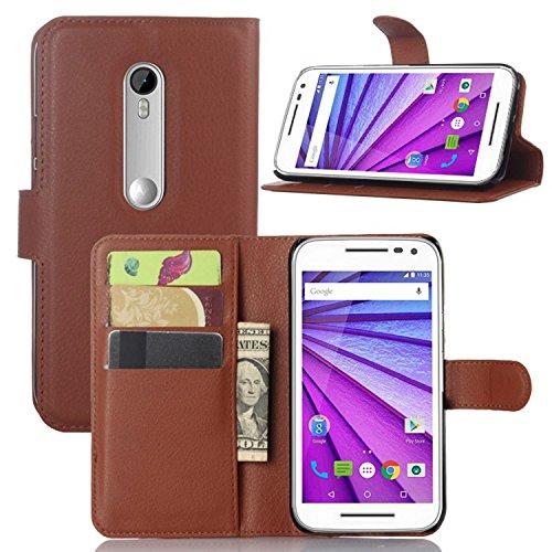 Ycloud Tasche für Motorola Moto G 3 Generation Hülle, PU Ledertasche Flip Cover Wallet Hülle Handyhülle mit Stand Function Credit Card Slots Bookstyle Purse Design braun