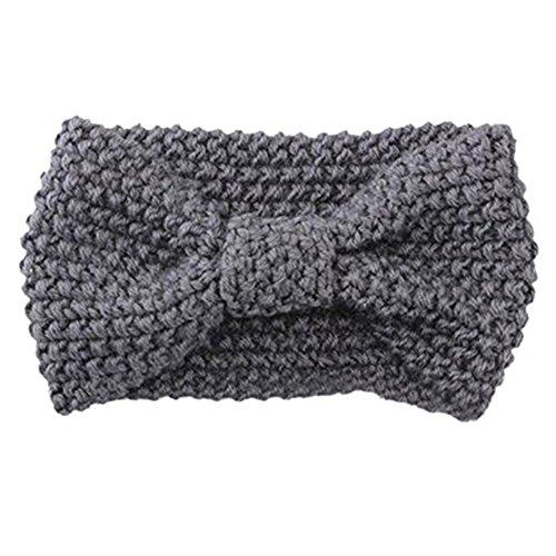 Damen Gestrickt Stirnband Häkelarbeit Schleife Design Winter Kopfband Haarband Hellgrau