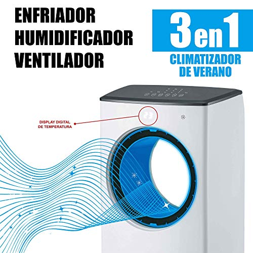 MovilCom® Climatizzatore Estivo Condizionatore Evaporativo 3 in 1 Raffreddatore Umidificatore Ventilatore Aria Raffreddato Purizzato con Telecomando 4L di Capacità
