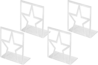 Book Ends, Bookends for Shelves, Metal Bookends Heavy Duty , Elegant and Simple Star Desgin Book End for Office, School, Bookend Supports White 2 Pair, Book Stoppers Decorative for CDs, Books, Movies