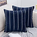 MIULEE Pack of 2 Velvet Decorative Throw Pillow Covers Stripe Ripple Lumbar Pillowcases Modern Soft Accent Cushion Case for Couch Sofa Bedroom, 18 x 18 Inch, Dark Blue