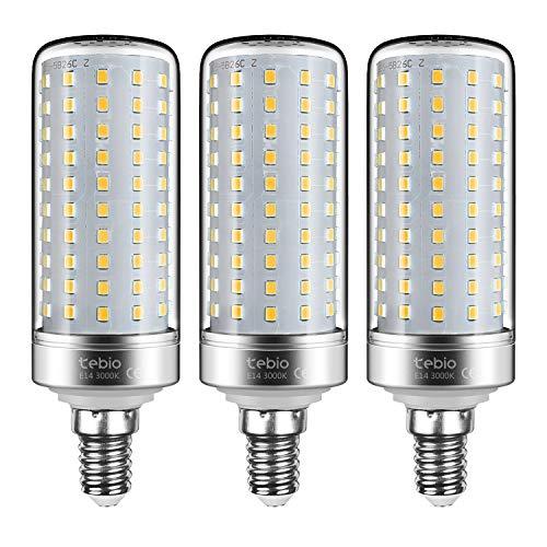 Tebio, lampadine a LED color argento, attacco E14, 25 W, 200 W, equivalenti a lampadine a incandescenza non dimmerabili, 3000 K, luce bianca calda, 2500 lm, confezione da 3