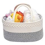 Organizador Pañales para Bebé,Cesta Bebe Recien Nacido,Cestas Bebe con 3 Compartimentos Extraíbles para Niño o niña ,Gris