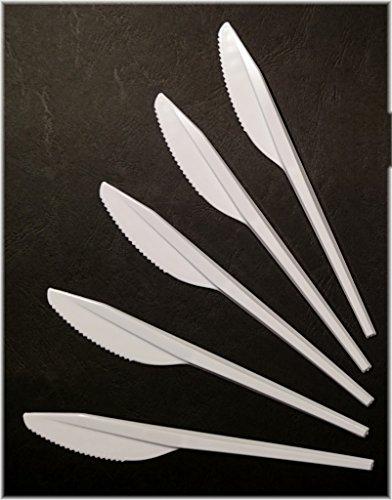 EVENTpac 100 Stück Einweg Messer 16,5cm weis lebensmittelecht aus Polystyrol/Kunststoffmesser/Plastikmesser