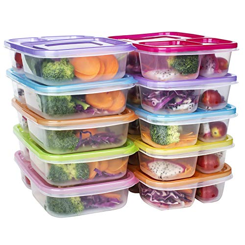 Meal Prep Containers 3 Compartment Food Storage Reusable Plastic Bento Microwavable Lunch Boxes with Lids BPA-Free 10-PackStackable Dishwasher Freezer SafePortion Control32oz