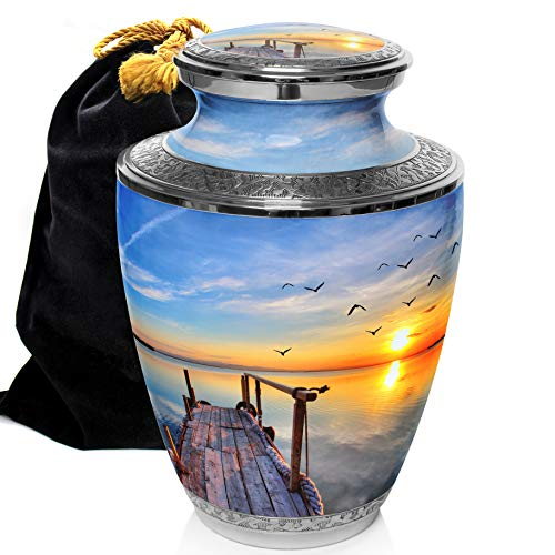 Dock of The Bay Sunset Beach Cremation Urns for Adult Human Ashes for Funeral, or Niche Cremation Urns for Human Ashes Adult 200 Cubic Inches, Urns for Ashes (Dock of the Bay, Large)