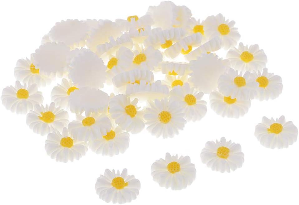 Baosity 50 Pieces DIY Flatbacks Rare Resin Store Flowers Flat Daisy Ca Back