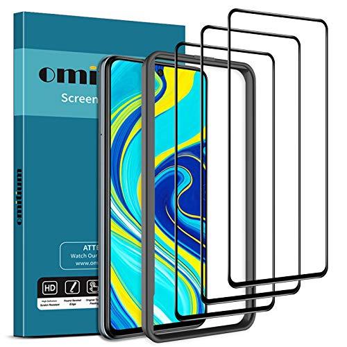 omitium Protector Pantalla para Xiaomi Redmi Note 9 Pro/Note 9S / Note 9 Pro Max, [3 Pack] Dureza 9H Cristal Templado Note 9S [Marco Instalación Fácil] Vidrio Templado Xiaomi Redmi Note 9 Pro Max