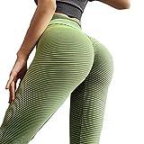 YanLin Frauensyoga Hosen Hohe Taille, Damen Sexy Reine Farbe Gedruckt Gym Fitness Workout Laufende Leggings Nahtlose Aufzug Gesäß Stretchhose,Grün,L