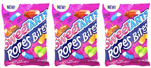 SweeTarts Ropes Bites 5.25 Ounce (Pack of 3) - Soft & Chewy Fruit-Punch Filling Sweet Tarts