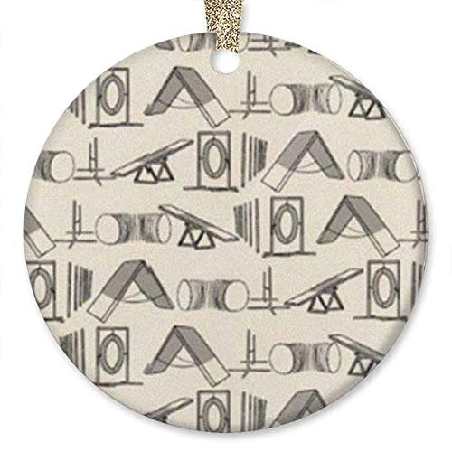 10CIDY Simple Dog Agility Equipment Ideas 2019 Ornament (Round) Personalized Ceramic Holiday Christmas Tree Ornament