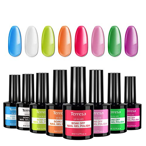 Terresa Gel Nail Polish Set, Bright White Soak Off Gel Nail Polish 8 Colors UV LED Pastel Nail Polishes Classic Home Gel Manicure Kit for DIY, Nail Art or Nail Salons
