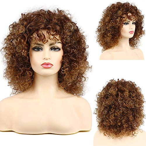 Afro Perücken Damen Braun Kurze locken Verworrene Perücken für Schwarze Frauen Cosplay Perücke(Braun)