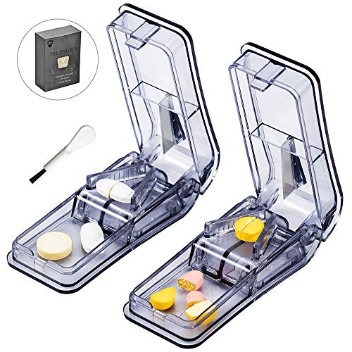 2-Pack Pill Cutter - Pill Splitter for Small or Large Pills Design in The USA, Easy Cut Pills for Tablet Vitamin and Big Medicine.