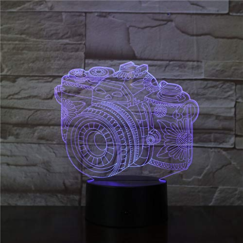 3D Digitale Spiegelreflexkamera Illusion Lampe Led Nachtlicht 7 Farbwechsel Touch Sensor Schreibtisch Tischlampe Mit Usb Kabel Dekoration Für Kinderzimmer Schlafzimmer,Kinder Geburtstag Geschenk