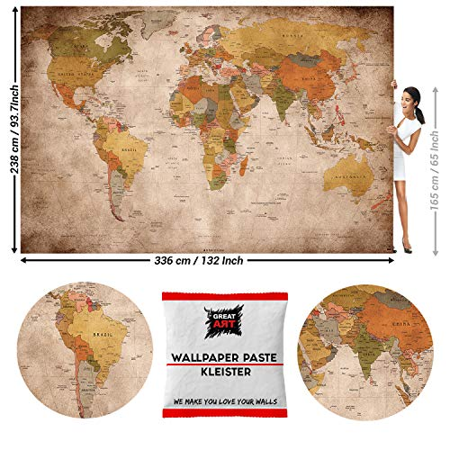 GREAT ART Photo Wallpaper Vintage World Map 132.3x93.7in / 336x238cm - Wallpaper 8 Pieces Includes Paste.