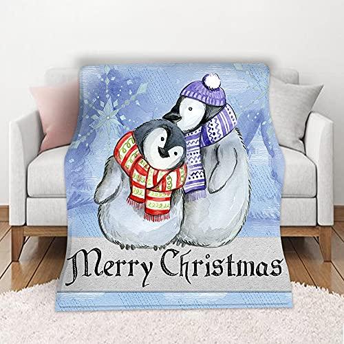 Manta de Franela de Forro Polar Súper Suave Manta de Tiro Pingüino de Navidad para Niños y Adultos Manta para Sofá Cama Todas Las Estaciones 150 x 200 cm