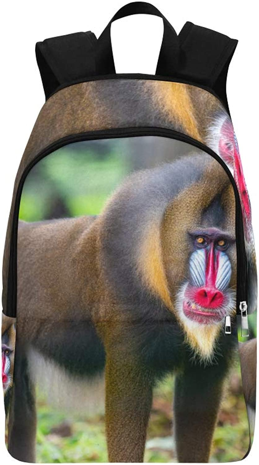 Animal Portrait Art Baboon Casual Daypack Travel Bag College School Backpack for Mens and Women
