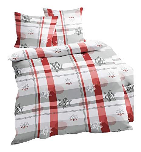 Dormisette Fein Biber Bettwäsche 2 TLG. Schneekristalle Rot Grau Weiß, Größe:135x200cm Bettwäsche