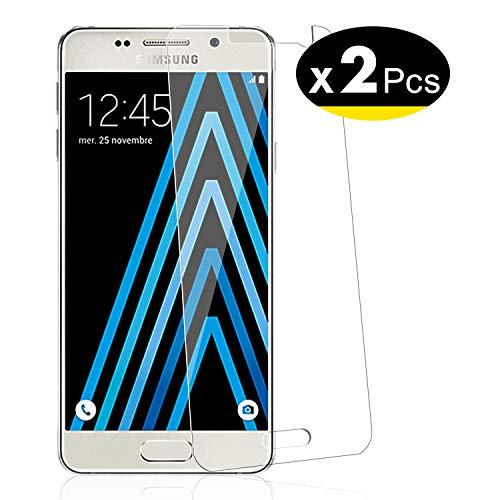 NEW'C 2 Unidades, Protector de Pantalla para Samsung Galaxy A3 2016 (SM-A310), Antiarañazos, Antihuellas, Sin Burbujas, Dureza 9H, 0.33 mm Ultra Transparente, Vidrio Templado Ultra Resistente