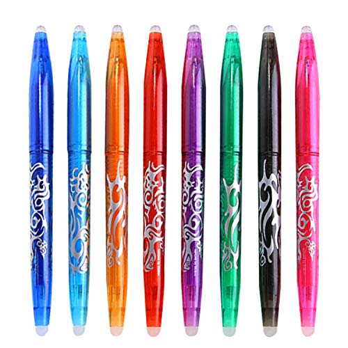 Hirsrian Radierbar Tintenroller Set 0.5mm Gel Tintenroller bunt Löschbarer Farbig Schnelltrocknende Gelschreiber mit Radiergummi,Erasable Pen für Zuhause Schule Büro-8 Farben