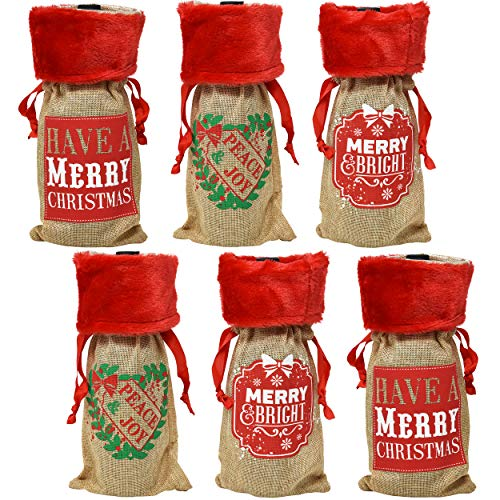 Christmas Wine Bottle Bag Covers, Pack of 6 Holiday Burlap Drawstring Pouch Holder for Home Kitchen and Party Favor Decorations by Gift Boutique