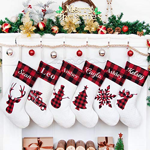 LUBOTS 2020 New 6 Pack Personalized Christmas Stocking(20inch) Silhouette Buffalo Red Plaid/Rustic/Farmhouse/Country Fireplace Hanging Xmas Stockings Decorations for Family Holiday Season