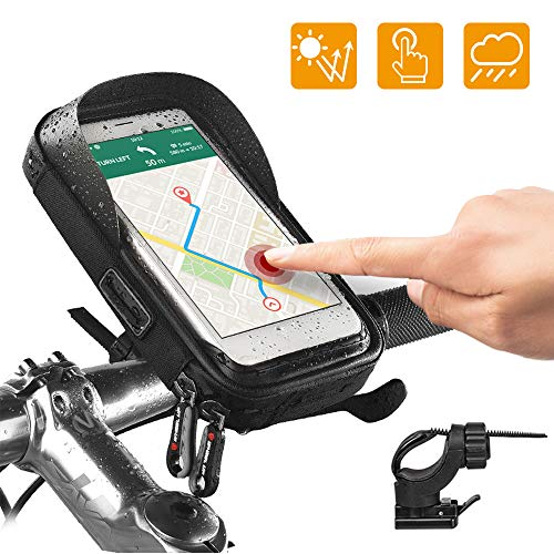 Lepeuxi Bolsa de Cuadro de Bicicleta Bolsa de Tubo Frontal Bolsa de Manillar Bolsa de Bicicleta con Caja de teléfono con Pantalla táctil