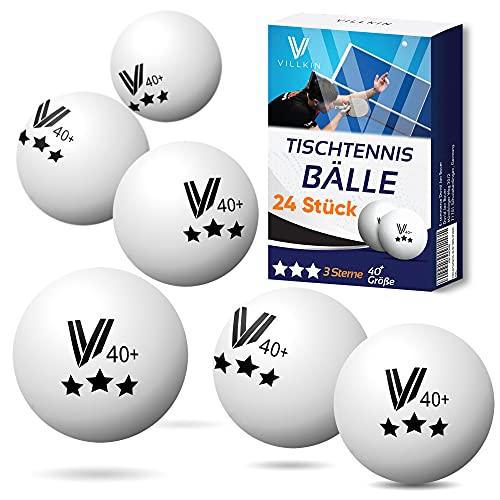 Villkin Tischtennisbälle - 24 Stück Ping Pong Bälle - Langlebiger Tischtennisball 40mm - Tischtennis Bälle für Freizeit & Wettkampf Table Tennis Balls