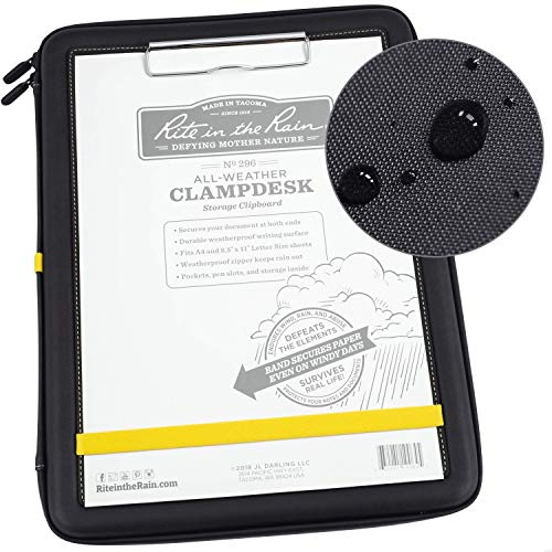 Rite in the Rain Weatherproof Clampdesk, 14' x 10.625', Black with Writing Surface, Storage Inside (No. 296)