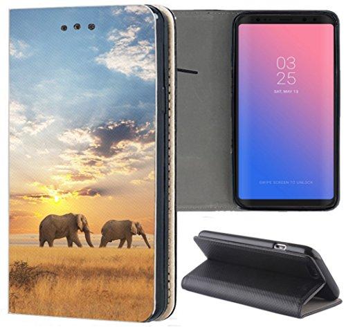 Samsung Galaxy A5 2017 A520 Hülle Premium Smart Einseitig Flipcover Hülle Galaxy A5 2017 Flip Hülle Handyhülle Samsung A5 2017 Motiv (1465 Elefant Elefanten Afrika Wildness)