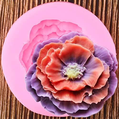 YAJIAO Moldes de Silicona de Flores de peonía Fabricación de para Artes de azúcar en Relieve Flor DIY Decoración de Boda Vela Cera-Resina Forma de Hecho a Mano