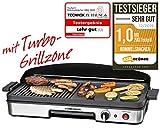ROMMELSBACHER Tischgrill BBQ 2003 - Turbo-Grillzone, 3-Lagen-Antihaftbeschichtung, Grillfläche 50 x 25 cm, 1900 Watt
