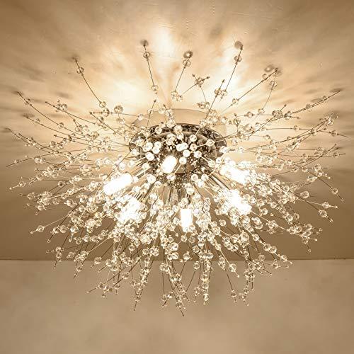 HMVPL Flush Mount Ceiling Light, Modern Crystal Sputnik Firework Close to Ceiling Lamp LED Ceiling Lighting Fixtures for Bedroom Kitchen Island Entryway Dining Room Hallway Closet