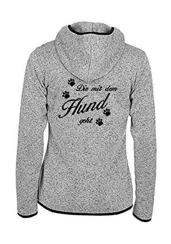 Damen Strick Fleece Jacke - Die mit dem Hund geht - Spruch bestickt, Größe:XL, Farbe:Grau melliert