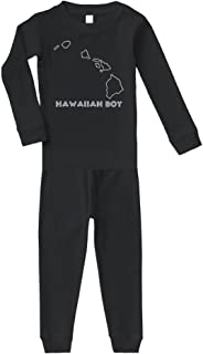 Hawaiian Boy Hawaii Cotton Long Sleeve Crewneck Unisex Infant Sleepwear Pajama 2 Pcs Set Top and Pant - Black, 5/6T
