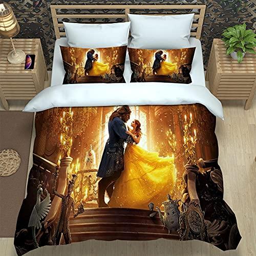 JJBWZX Juego de funda de edredón de 104 x 200 cm, 3 piezas, incluye 2 fundas de almohada, 3D impreso Beauty and The Beast para hombres y mujeres, juego de cama de microfibra lavada, tamaño King
