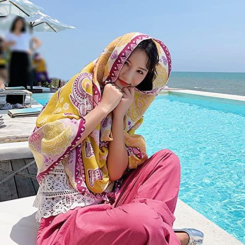 Vcnhln Bufanda Mujer Animal Patrón Algodón Lino Bufanda Bufanda Larga Chal Toalla de Playa Bufanda Chal Bufanda Linda Girl180x90cm