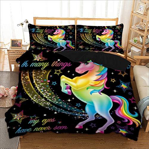Funda de edredón Unicornio Galaxia Estrella Ropa de cama Infantil Niños Niñas Habitación Sueño Arco Iris Caballo Púrpura Azul Estrellado Negro Brillante (Caricatura, 180x220 cm - Cama 90/105 cm)