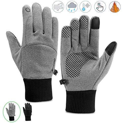 Kasimir Outdoor Handschuhe Doppelt Wasserdicht Touchscreen Handschuhe Kalte Winterhandschuhe Wasserfeste Anti-Rutsch Fahren Radfahren Männer Frauen Grau M