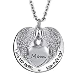 Infinite Memories - I was Her Angel Now She's Mine - Love Heart Wings Pendant Urn Necklace for Ashes Cremation Memorial Keepsake for Mom