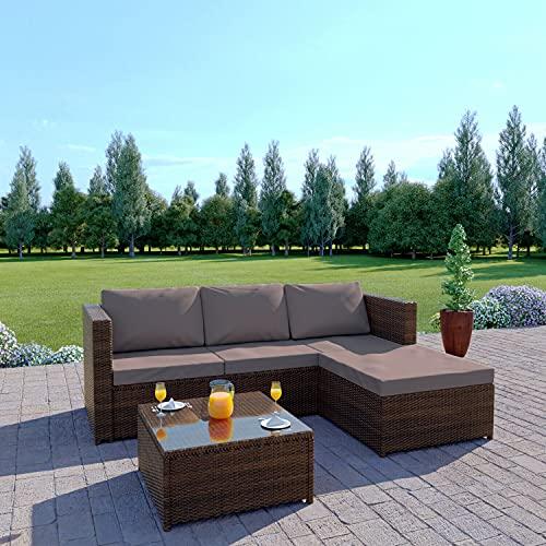 Abreo Rattan Garden Corner Sofa And Table Patio Furniture Set (Brown + Dark Cushions)