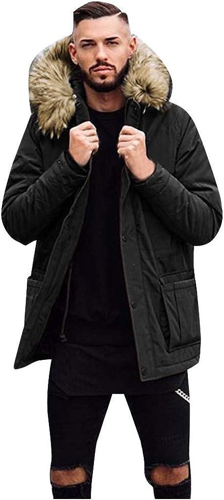 NotingBuss Men's Winter Coats Thicken Sherpa Lined Warm Jacket Long Cotton Coat Overcoat