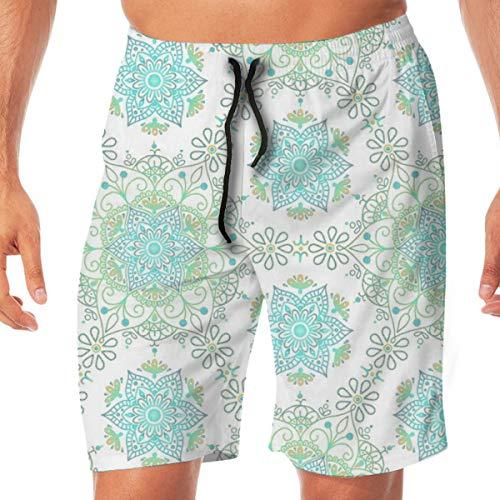 Mandala Cerulean Sand Men's Beachwear Slim Fit Summer Holiday Swim Trunks Quick Dry Striped Swim Shorts X-Large