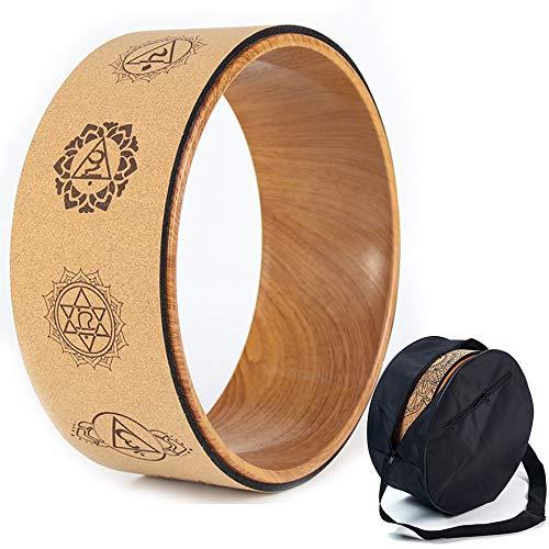 YANBANJIE Rueda de Yoga de Corcho, Equipada con Una Bolsa de Yoga Wheel Especial, Accesorios de Yoga Pilates Naturales y Cómodos para Mejorar la Flexibilidad (G)