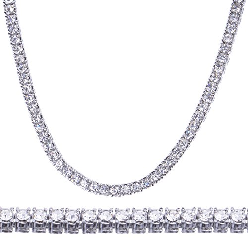 Fashion Lab Created Diamond 4 mm 16' Solitaires Tennis Choker Necklace (Silver Toned)